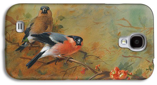 Bullfinches And Pyrus Japonica Galaxy S4 Case by Archibald Thorburn
