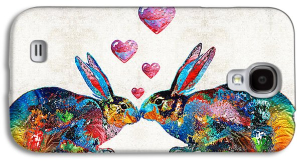 Bunny Rabbit Art - Hopped Up On Love - By Sharon Cummings Galaxy S4 Case by Sharon Cummings
