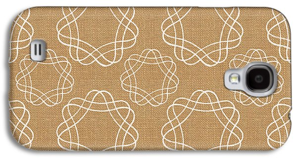 Burlap And White Geometric Flowers Galaxy S4 Case by Linda Woods