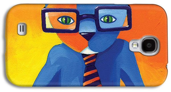 Blue Abstracts Galaxy S4 Cases - Business Cat Galaxy S4 Case by Mike Lawrence