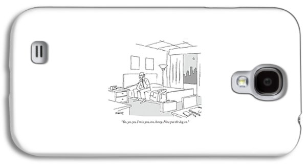 Businessman Sitting On A Bed In Hotel Room Galaxy S4 Case by Jack Ziegler