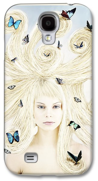 Butterfly Girl Galaxy S4 Case by Linda Lees