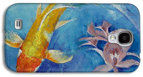 Butterfly Koi With Orchids Galaxy S4 Case by Michael Creese