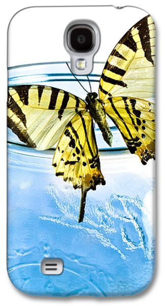 Mason Jars Galaxy S4 Cases - Butterfly on a blue jar Galaxy S4 Case by Bob Orsillo