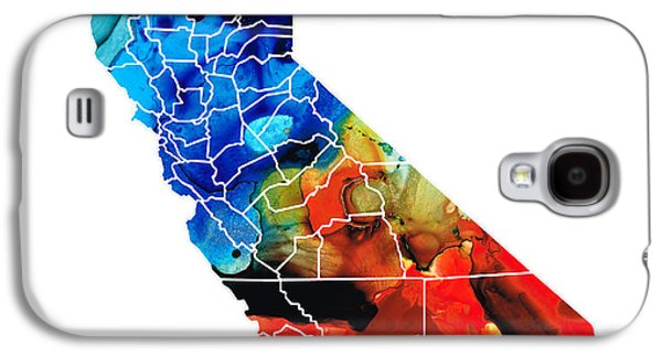 California - Map Counties By Sharon Cummings Galaxy S4 Case by Sharon Cummings