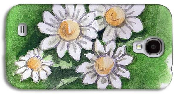 Camomile Flowers Galaxy S4 Case by Linda L Martin