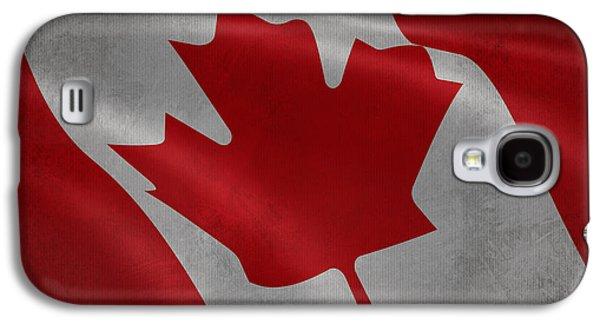 Canadian Flag Waving Aged Canvas Galaxy S4 Case by Eti Reid