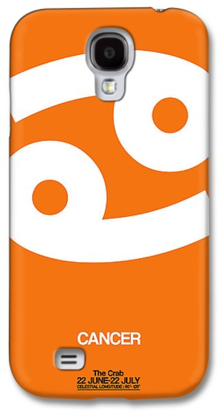 Cancer Zodiac Sign White On Orange Galaxy S4 Case by Naxart Studio
