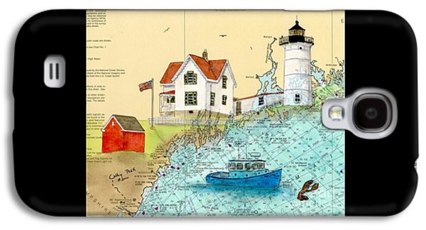 Cape Neddick Lighthouse Me Nautical Chart Map Art Cathy Peek Galaxy S4 Case