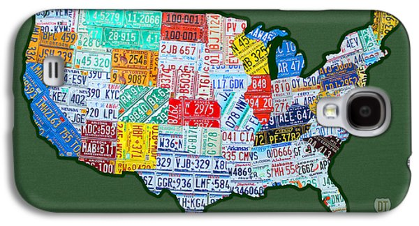 Car Tag Number Plate Art Usa On Green Galaxy S4 Case by Design Turnpike