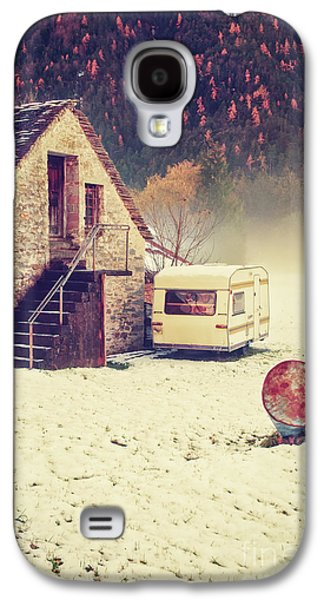 Caravan In The Snow With House And Wood Galaxy S4 Case by Silvia Ganora