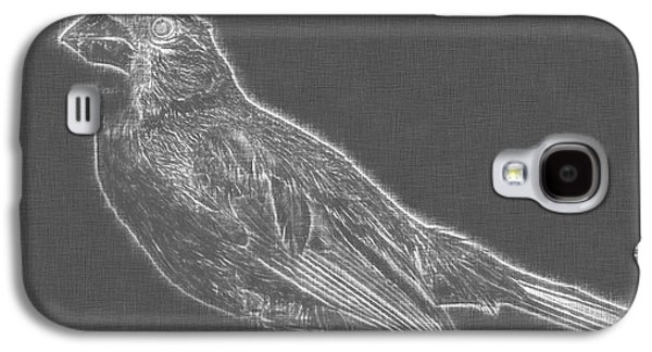 Cardinal Bird Glowing Charcoal Sketch Galaxy S4 Case