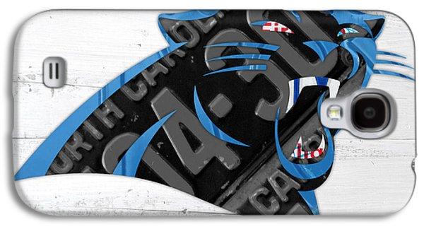 Carolina Panthers Football Team Retro Logo Recycled North Carolina License Plate Art Galaxy S4 Case by Design Turnpike
