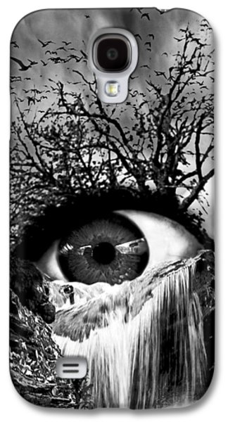 Cascade Crying Eye Grayscale Galaxy S4 Case by Marian Voicu