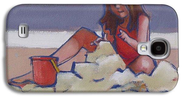 Castle Buiilding Sandcastles On The Beach Galaxy S4 Case by Mary Hubley