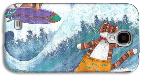Cat And Dog Surfing Galaxy S4 Case by Peter Adderley