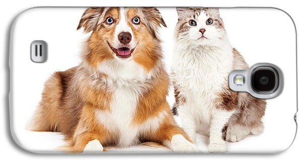 Cat And Happy Dog Together Galaxy S4 Case by Susan Schmitz