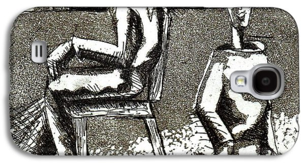 Cat Under Chair Galaxy S4 Case by Genevieve Esson