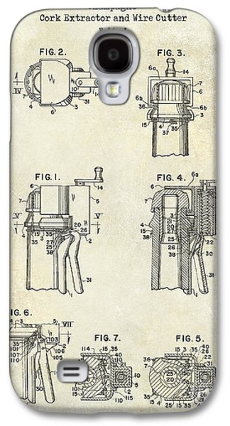 Champagne  Cork Extractor And Wire Cutter Patent Drawing Galaxy S4 Case by Jon Neidert