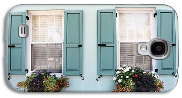 Charleston Aqua Teal French Quarter Rainbow Row Flower Window Boxes Galaxy S4 Case by Kathy Fornal