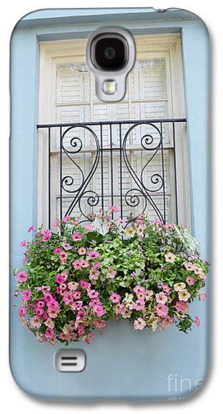 Charleston Window Box Flower Photography - Charleston Rainbow Row Blue Aqua Dreamy Flower Window Box Galaxy S4 Case by Kathy Fornal