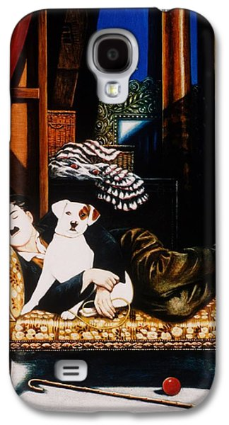 Charlie Chaplin And Scraps, 1992 Oils And Tempera On Panel Galaxy S4 Case by Frances Broomfield
