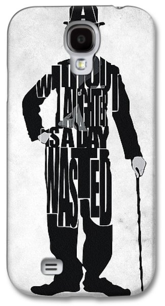 Charlie Chaplin Typography Poster Galaxy S4 Case by Ayse Deniz