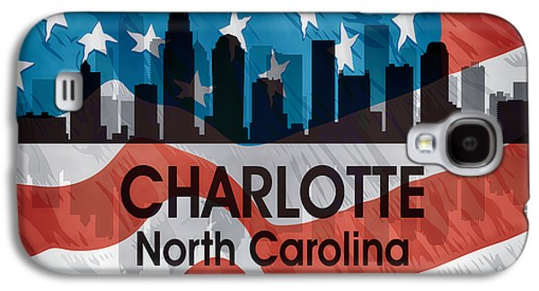 Charlotte Nc American Flag Squared Galaxy S4 Case by Angelina Vick