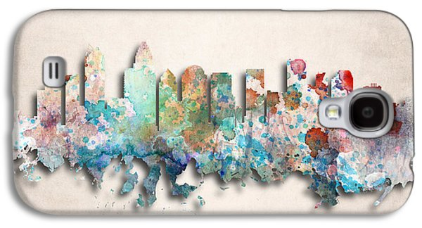 Charlotte Painted City Skyline Galaxy S4 Case by World Art Prints And Designs