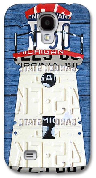 Cheboygan Crib Lighthouse Michigan Vintage License Plate Art On Wood Galaxy S4 Case by Design Turnpike