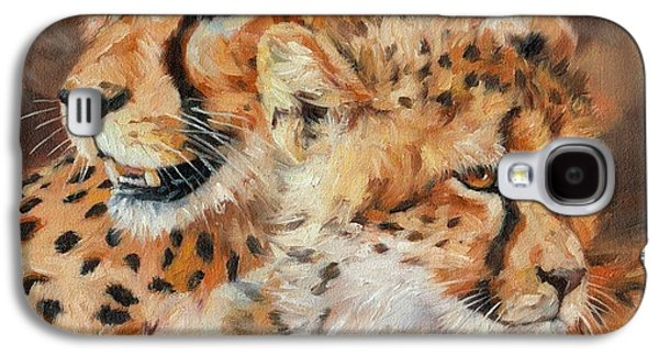 Cheetah And Cub Galaxy S4 Case by David Stribbling