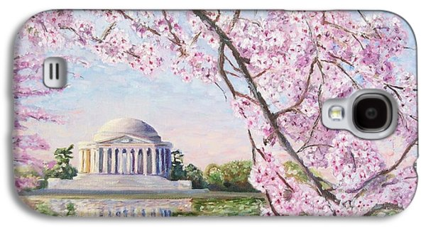 Jefferson Memorial Galaxy S4 Case - Jefferson Memorial Cherry Blossoms by Patty Kay Hall