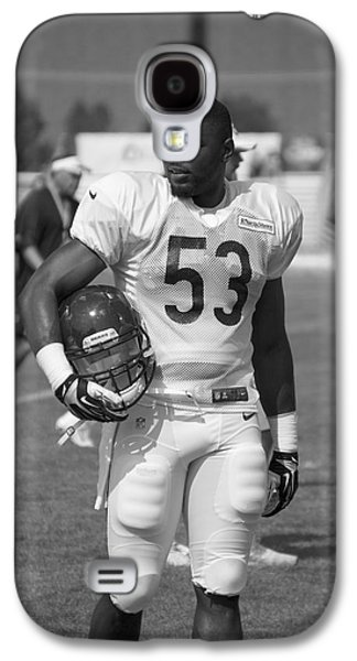 Chicago Bears Lb Jerry Franklin Training Camp 2014 Bw Galaxy S4 Case by Thomas Woolworth
