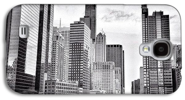 Chicago River Buildings Black And White Photo Galaxy S4 Case