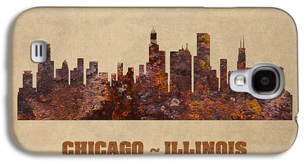 Chicago City Skyline Rusty Metal Shape On Canvas Galaxy S4 Case