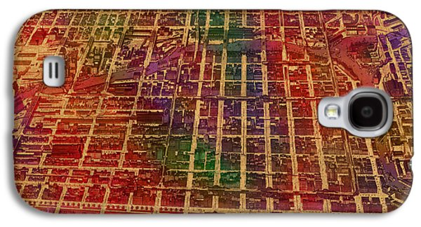 Chicago Illinois Map Business District 1898 Birds Eye View Watercolor Painting On Parchment  Galaxy S4 Case