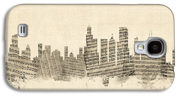 Chicago Illinois Skyline Sheet Music Cityscape Galaxy S4 Case by Michael Tompsett