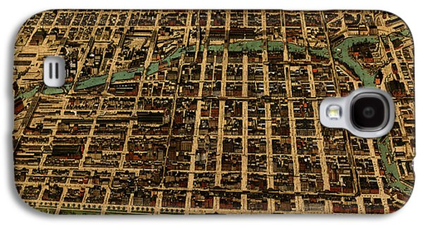 Chicago Illinois Vintage Map Business District 1898 Birds Eye View Illustration On Parchment  Galaxy S4 Case
