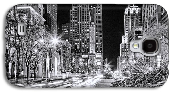 Chicago Michigan Avenue Light Streak Black And White Galaxy S4 Case by Christopher Arndt