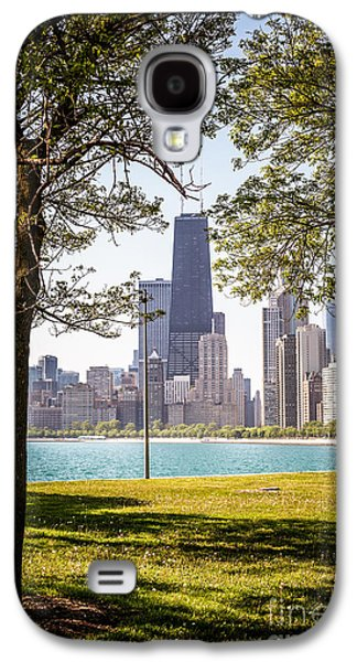 Chicago Skyline And Hancock Building Through Trees Galaxy S4 Case by Paul Velgos