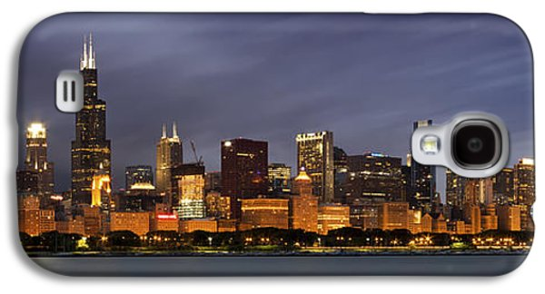 Lake Michigan Galaxy S4 Case - Chicago Skyline At Night Color Panoramic by Adam Romanowicz