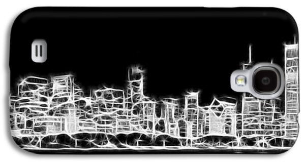 Chicago Skyline Fractal Black And White Galaxy S4 Case by Adam Romanowicz