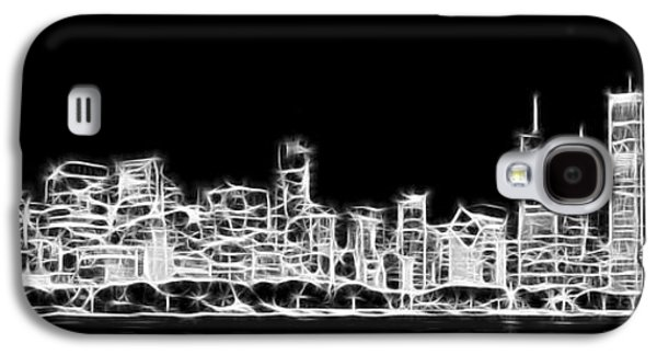 Chicago Skyline Fractal Black And White Galaxy S4 Case