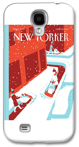 Children Are Pushed In Snowplow Carriages Galaxy S4 Case