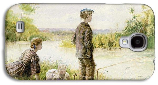 Children Fishing By A Stream Galaxy S4 Case