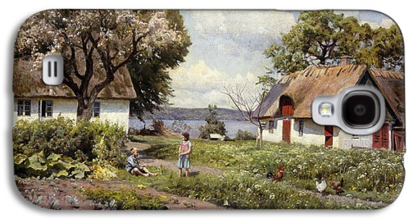 Children In A Farmyard Galaxy S4 Case by Peder Monsted