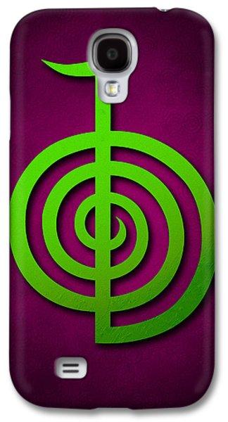 Cho Ku Rei - Lime Green On Purple Reiki Usui Symbol Galaxy S4 Case by Cristina-Velina Ion