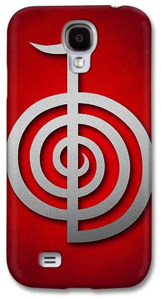 Cho Ku Rei - Silver On Red Reiki Usui Symbol Galaxy S4 Case by Cristina-Velina Ion