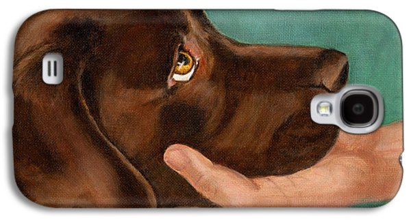Chocolate Lab Head In Hand Galaxy S4 Case