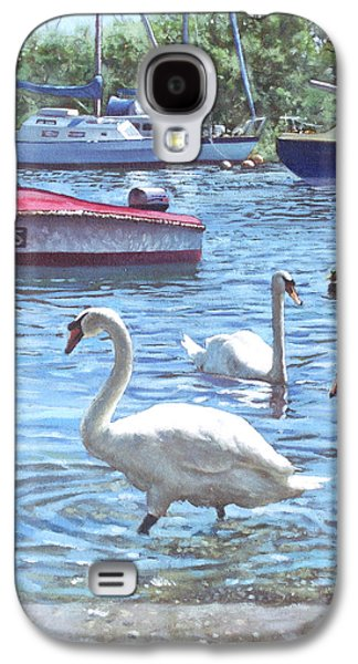 Christchurch Harbour Swans And Boats Galaxy S4 Case by Martin Davey
